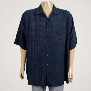 Byron Nelson Golf Plaid Silk Button Up Camp Shirt